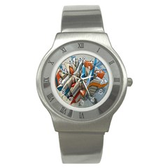 Abstraction Imagination City District Building Graffiti Stainless Steel Watch