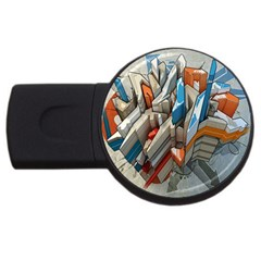 Abstraction Imagination City District Building Graffiti Usb Flash Drive Round (4 Gb)
