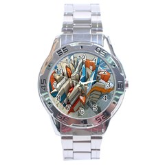Abstraction Imagination City District Building Graffiti Stainless Steel Analogue Watch