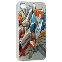 Abstraction Imagination City District Building Graffiti Apple iPhone 4/4s Seamless Case (White)