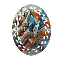 Abstraction Imagination City District Building Graffiti Oval Filigree Ornament (Two Sides)
