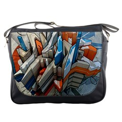 Abstraction Imagination City District Building Graffiti Messenger Bags