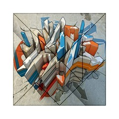 Abstraction Imagination City District Building Graffiti Acrylic Tangram Puzzle (6  x 6 )