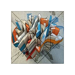 Abstraction Imagination City District Building Graffiti Acrylic Tangram Puzzle (4  x 4 )