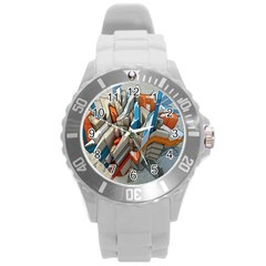Abstraction Imagination City District Building Graffiti Round Plastic Sport Watch (L)