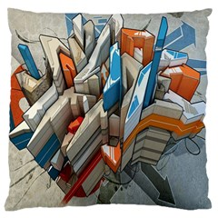 Abstraction Imagination City District Building Graffiti Large Cushion Case (Two Sides)