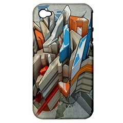 Abstraction Imagination City District Building Graffiti Apple iPhone 4/4S Hardshell Case (PC+Silicone)