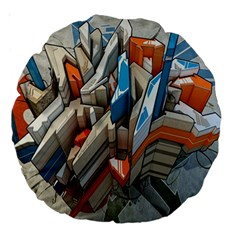 Abstraction Imagination City District Building Graffiti Large 18  Premium Round Cushions
