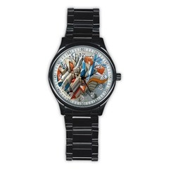 Abstraction Imagination City District Building Graffiti Stainless Steel Round Watch