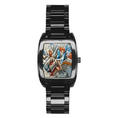 Abstraction Imagination City District Building Graffiti Stainless Steel Barrel Watch