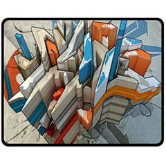 Abstraction Imagination City District Building Graffiti Double Sided Fleece Blanket (Medium)