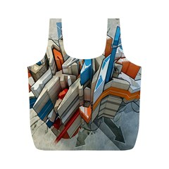 Abstraction Imagination City District Building Graffiti Full Print Recycle Bags (M)