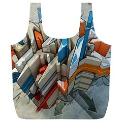Abstraction Imagination City District Building Graffiti Full Print Recycle Bags (l)