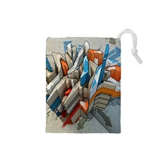 Abstraction Imagination City District Building Graffiti Drawstring Pouches (Small)