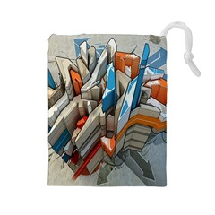 Abstraction Imagination City District Building Graffiti Drawstring Pouches (Large)