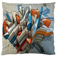 Abstraction Imagination City District Building Graffiti Large Flano Cushion Case (one Side)