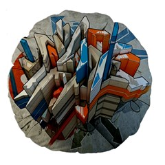 Abstraction Imagination City District Building Graffiti Large 18  Premium Flano Round Cushions