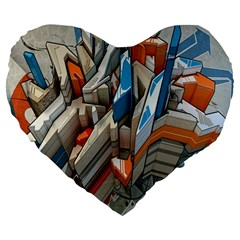 Abstraction Imagination City District Building Graffiti Large 19  Premium Flano Heart Shape Cushions