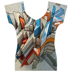 Abstraction Imagination City District Building Graffiti Women s V-Neck Cap Sleeve Top