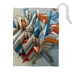 Abstraction Imagination City District Building Graffiti Drawstring Pouches (xxl)