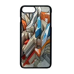 Abstraction Imagination City District Building Graffiti Apple iPhone 7 Plus Seamless Case (Black)