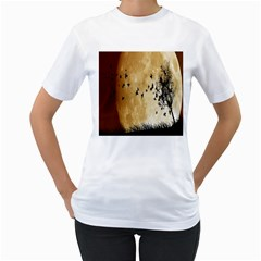 Birds Sky Planet Moon Shadow Women s T Shirt (white) (two Sided)