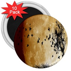 Birds Sky Planet Moon Shadow 3  Magnets (10 pack)