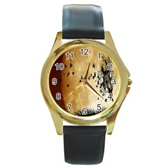 Birds Sky Planet Moon Shadow Round Gold Metal Watch