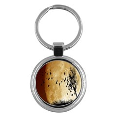 Birds Sky Planet Moon Shadow Key Chains (Round)