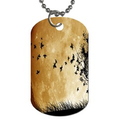 Birds Sky Planet Moon Shadow Dog Tag (One Side)