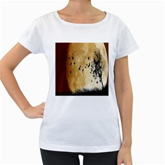 Birds Sky Planet Moon Shadow Women s Loose-Fit T-Shirt (White)