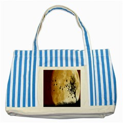 Birds Sky Planet Moon Shadow Striped Blue Tote Bag