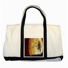 Birds Sky Planet Moon Shadow Two Tone Tote Bag