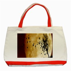 Birds Sky Planet Moon Shadow Classic Tote Bag (Red)