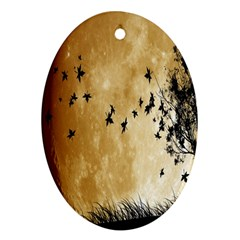 Birds Sky Planet Moon Shadow Oval Ornament (Two Sides)