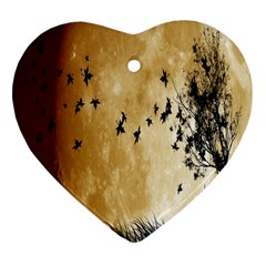 Birds Sky Planet Moon Shadow Heart Ornament (two Sides)