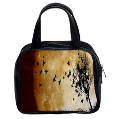 Birds Sky Planet Moon Shadow Classic Handbags (2 Sides)