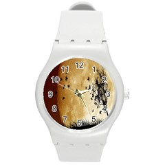 Birds Sky Planet Moon Shadow Round Plastic Sport Watch (m)