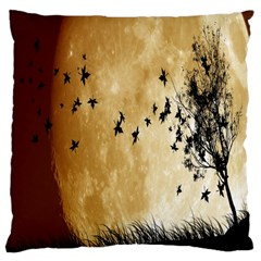 Birds Sky Planet Moon Shadow Large Cushion Case (Two Sides)