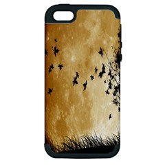 Birds Sky Planet Moon Shadow Apple iPhone 5 Hardshell Case (PC+Silicone)