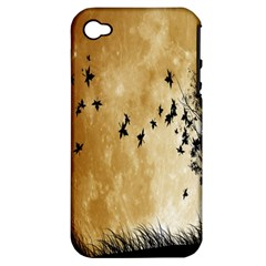 Birds Sky Planet Moon Shadow Apple iPhone 4/4S Hardshell Case (PC+Silicone)