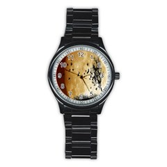 Birds Sky Planet Moon Shadow Stainless Steel Round Watch