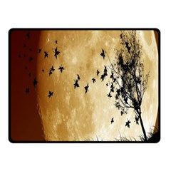 Birds Sky Planet Moon Shadow Double Sided Fleece Blanket (Small)