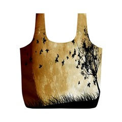 Birds Sky Planet Moon Shadow Full Print Recycle Bags (M)