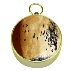Birds Sky Planet Moon Shadow Gold Compasses