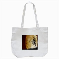 Birds Sky Planet Moon Shadow Tote Bag (White)