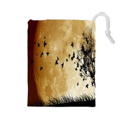 Birds Sky Planet Moon Shadow Drawstring Pouches (Large)