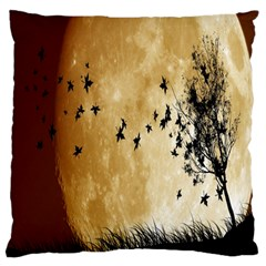 Birds Sky Planet Moon Shadow Large Flano Cushion Case (one Side)