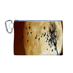 Birds Sky Planet Moon Shadow Canvas Cosmetic Bag (M)