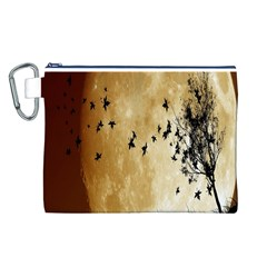 Birds Sky Planet Moon Shadow Canvas Cosmetic Bag (L)